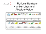 2.1 Rational Numbers, Number Lines and Absolute Value