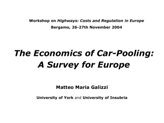 The Economics of Car-Pooling: A Survey for Europe