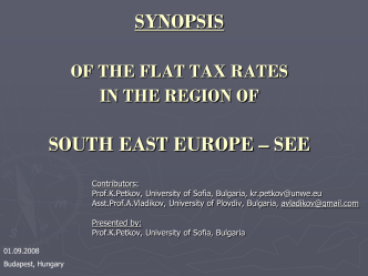 SYNOPSIS OF THE FLAT TAX RATES IN THE REGION OF …