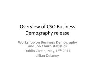 Business Demography Overview 12th May 2011 Dublin Castle