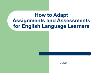 How to Modify Assignments and Assessments for English Language