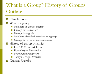 History of Group Dynamics