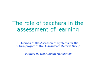 Assessment Systems for the Future: the place of assessment
