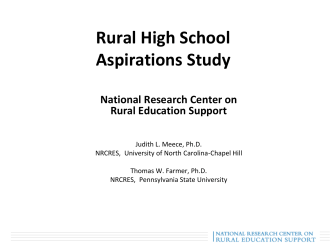 Preliminary results of the Rural High School Aspirations Study