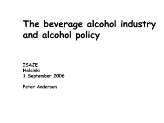 Science and the alcohol industry