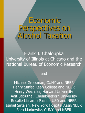 Economic Perspectives on Optimal Alcohol Taxation