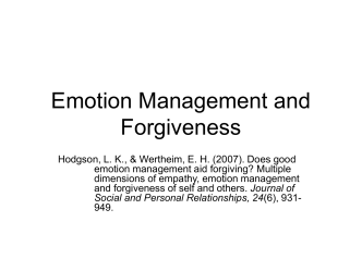 Emotion Management and Forgiveness