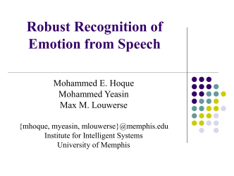 Emotion Recognition in Speech in Learning
