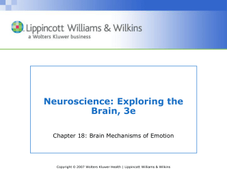 Ch 18 - Brain Mechanisms of Emotion