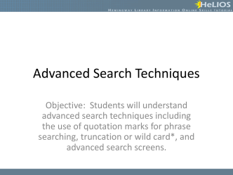 Advanced Search Techniques