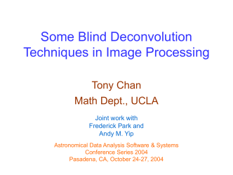 Some Blind Deconvolution Techniques in Image