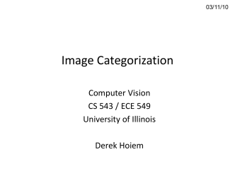 Lecture 16 - Image Categorization