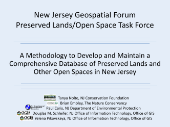 New Jersey Geospatial Forum Preserved Lands/Open Space Task