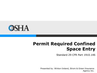 Permit Required Confined Space Entry