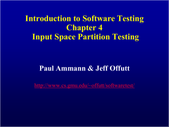 Ch 4: Input Space Partitioning