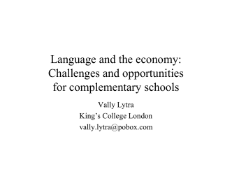 Language and the economy - Institute of Multilingualism