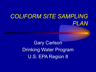 Coliform Site Sampling Plan