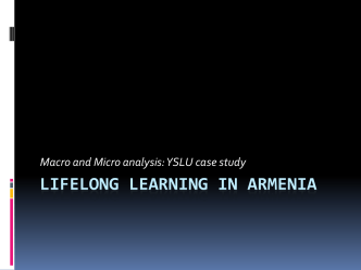 Lifelong learning in Armenia Current situation, challenges