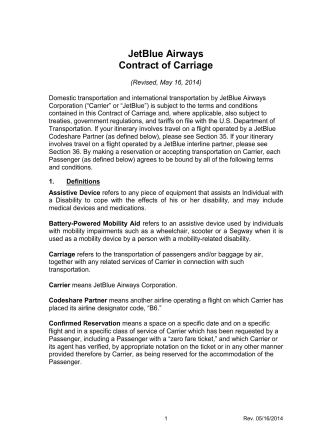 Contract of Carriage (COC)-R62