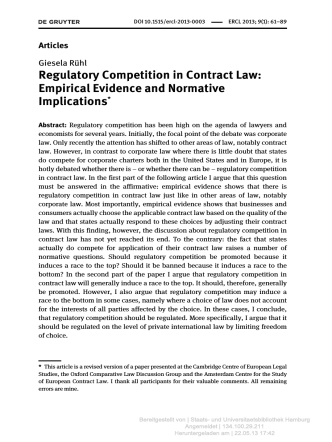 Regulatory Competition in Contract Law