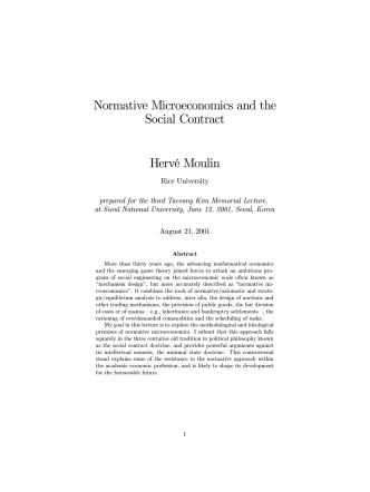 Normative Microeconomics and the Social Contract