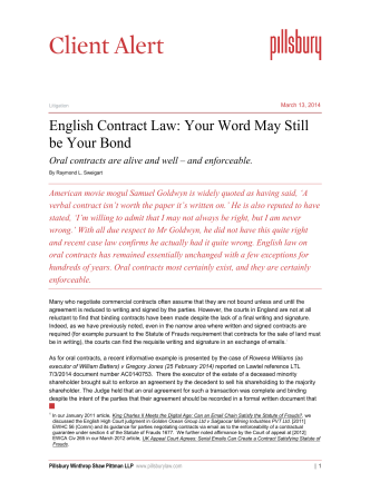 English Contract Law: Your Word May Still be Your Bond