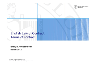 English Law of Contract: Terms of contract