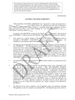 Outgoing Material Transfer Agreement (MTA)