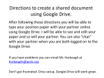 Directions to create a shared document using Google Drive.