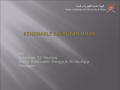 RENEWABLE ENERGY INITIATIVES IN OMAN Public Authority for