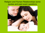 Religion and Human Relationships some quotes and past exam