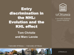 Entry discrimination in the NHL:Evolution and the KHL effect. w