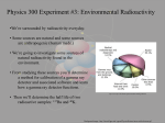 Environmental Radioactivity