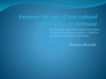 Examine the role of two cultural dimensions on behavior