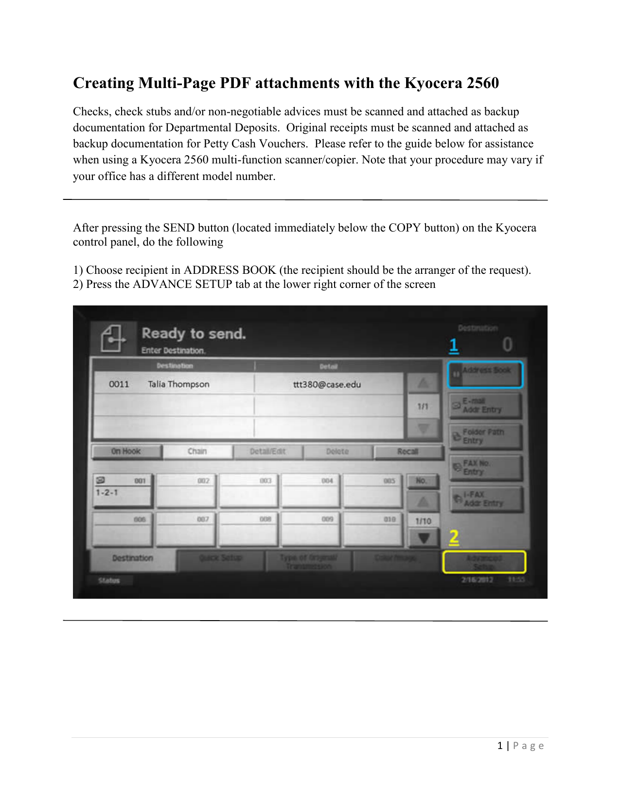 Creating Multi-Page PDF attachments with the Kyocera 2560