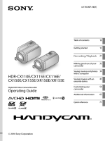 Operating Guide HDR-CX110E/CX115E/CX116E/ CX150E/CX155E