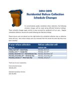 2014-2015 Residential Refuse Collection Schedule Changes