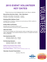 2015 EVENT VOLUNTEER KEY DATES