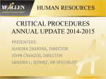 2014-2015 HR Critical Procedures Training PowerPoint
