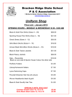 Uniform Shop price list 2015