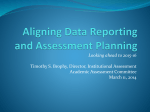 Aligning data reporting and assessment planning for 2015-16