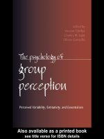 Vincent Yzerbyt Charles M. Judd Olivier Corneille - The Psychology of Group Perception (2003)