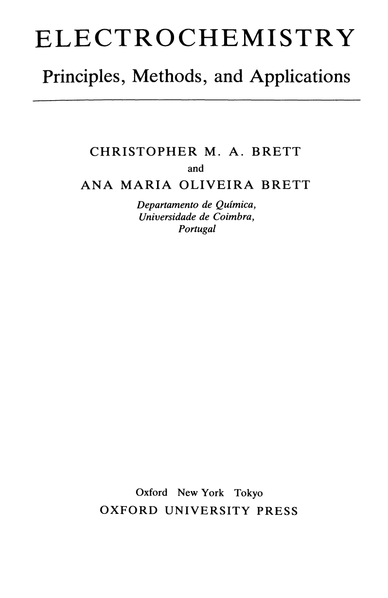 79f38722af  Oxford Science Publications  Christopher M. A. Brett Ana Maria Oliveira  Brett - Electrochemistry- Principles Methods And Applications (1993 Oxford  ...