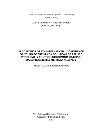 2177.Proceedings of 6th International Conference of  Young Scientisis on Solutions of Applied Problems in Control and Communications .