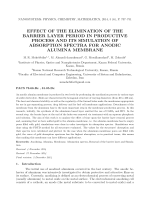 Effect of the elimination of the barrier layer period in productive process and its simulation of absorption spectra for anodic alumina membrane.