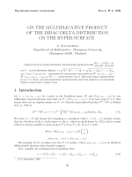 On the multiplicative product of the Dirac-delta distribution on the hyper-surface.