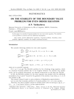 On the stability of the boundary value problem for even order equation.