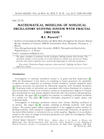Mathematical modeling of nonlocal oscillatory Duffing system with fractal friction.
