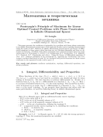 Pontryagin's principle of maximum for linear optimal control problems with phase constraints in infinite dimensional spaces.