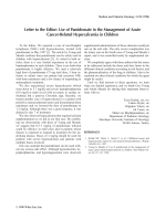 Use of pamidronate in the management of acute cancer-related hypercalcemia in children